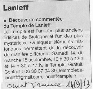 Ouest France 14 Sept 2013